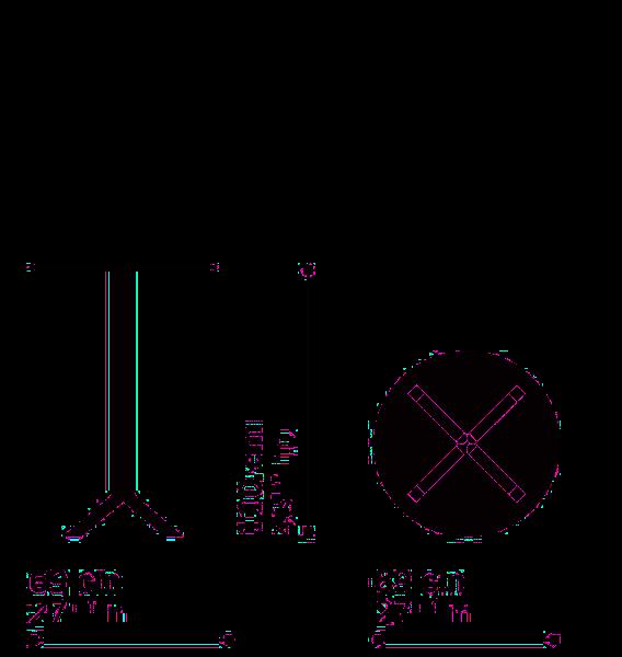 Misure Tavolo Tondo h 110 cm  PAN B02 – Top FX-D69 / Pan