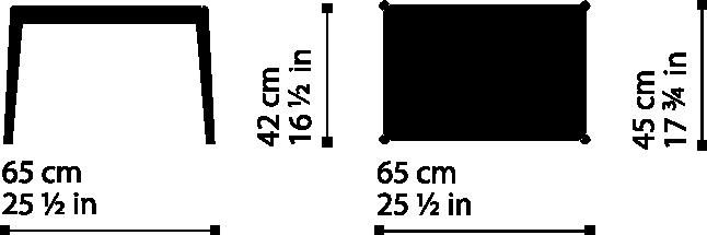 Misure Tavolino Alto Rettangolare T04 / Bellevue