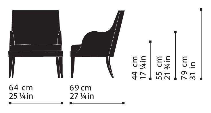 Misure Armchair 104 – Wise / Onda