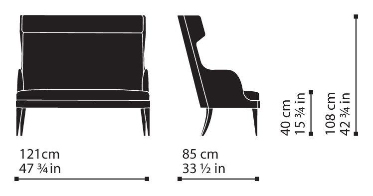 Misure Bergère Sofa 105 – Wise / Onda