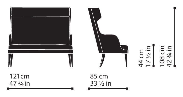 Misure Bergère Sofa 115 – Wise / Onda