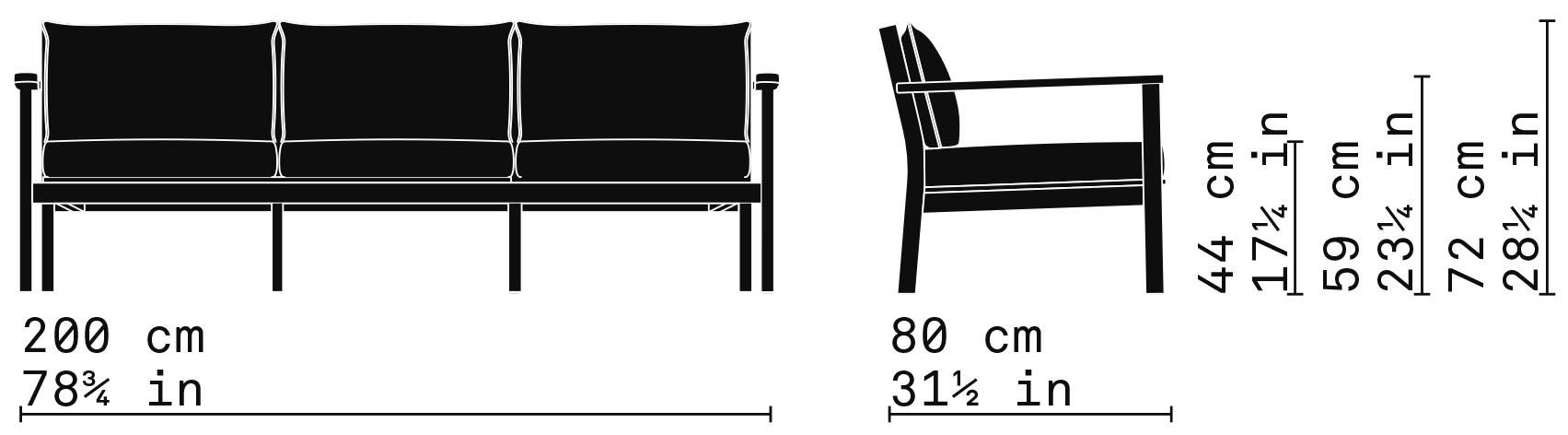 Misure Lounge threeseater sofa 35 / Capri