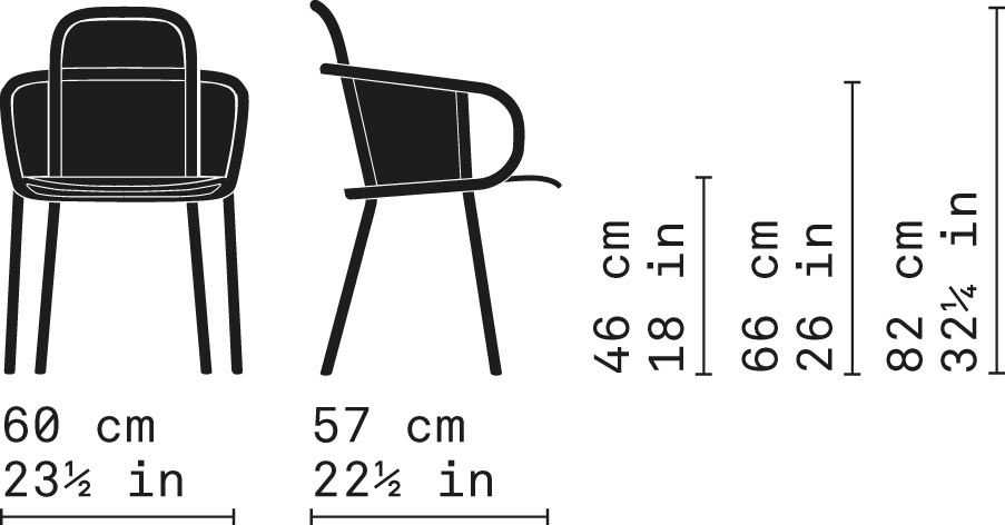 Misure Poltroncina Dining 32/NR / Zantilam